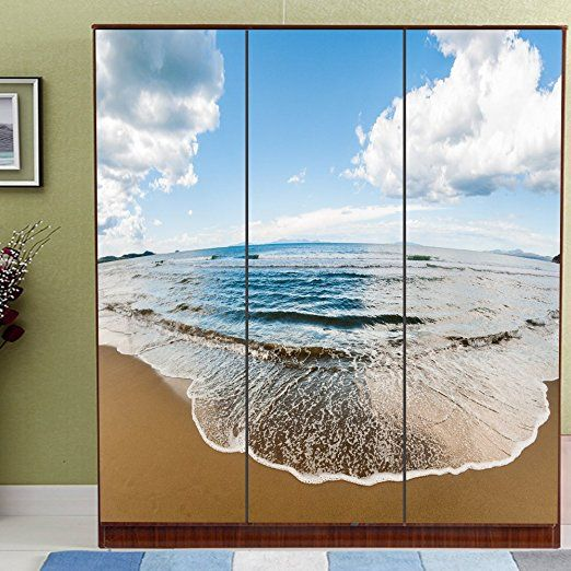 yazi Personalized Closet Wardrobe Mural Custom Size Porch Kitchen Sliding Door Decorative Sticker Opacity Self-adhesive, Sand Beach Scenery