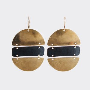 Fay Andrada - Hamburguesa earrings: hand made brass and oxidized copper earrings inspired by the almighty hamburger.