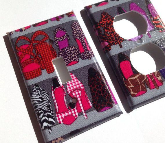 High Heel Single Light Switch Cover / Zebra by COUTURELIGHTPLATES animal print Decor , Shoe closet , High heel Shoe closet, bedroom decor , Boudior decor , Zebra high heels , Gray bedroom Decor  #shoecloset #highheels #animalprint