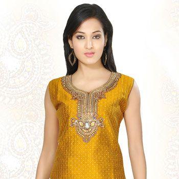 Mustard Art Silk Salwar Kameez Online Shopping: KGF3916