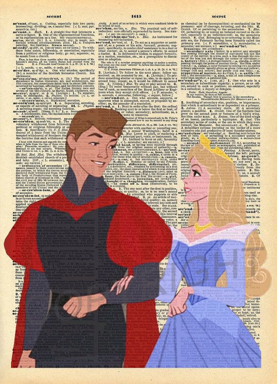 Sleeping Beauty and Prince Phillip Dictionary Art by AmourPrints