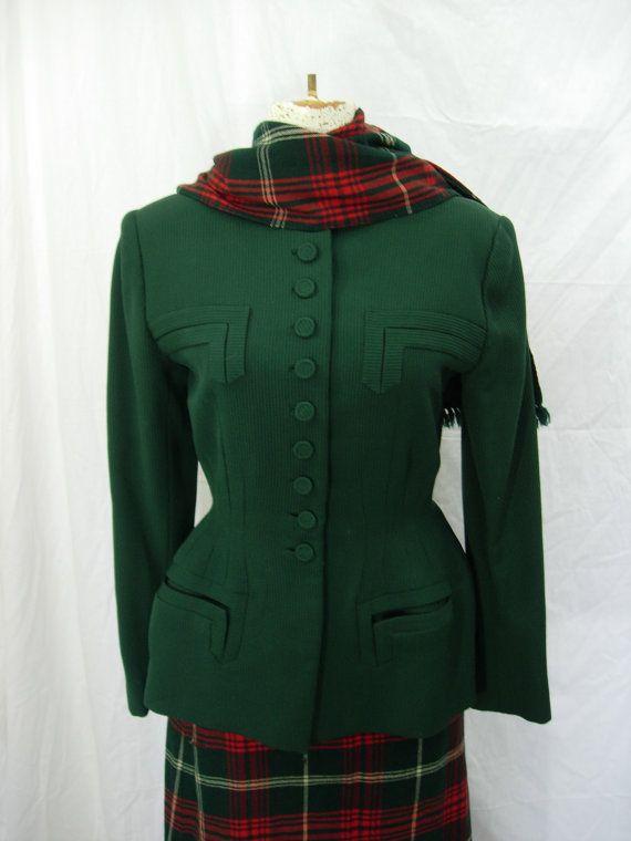 40's British racing green suit jacket tartan plaid by LorrelMae, $88.00
