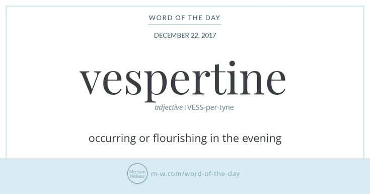 Word of the Day: Vespertine | Merriam-Webster