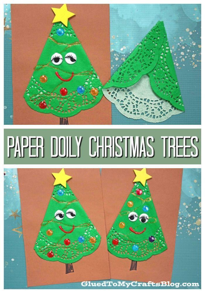 Paper Doily Christmas Tree Friends Paper Art Craft Preschool Christmas Crafts Christmas Art For Kids Christmas Tree Art