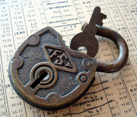 Vintage Brass FS Padlock with Key by handmaidensattic on Etsy, $22.50