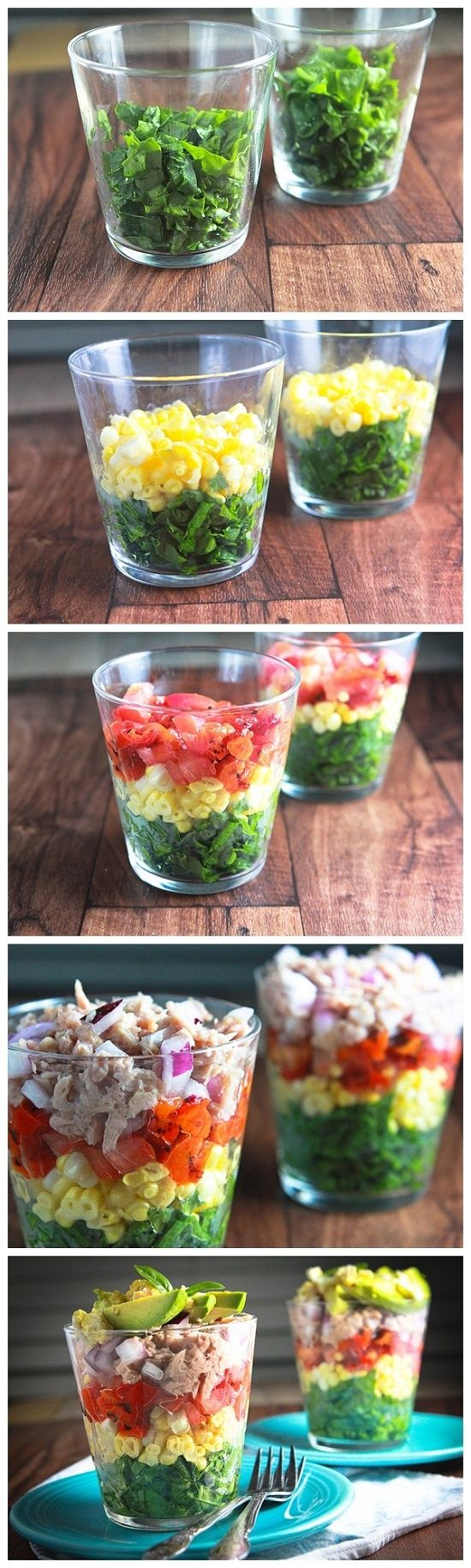Rainbow Salad in a Glass. I think this is a smart idea for serving salad at a party , guests can pour out theirs on their plate then apply dressing