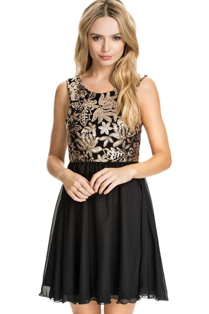 Gold Sequin Floral Skater Dress Women Fashion New In Style at modeshe.com