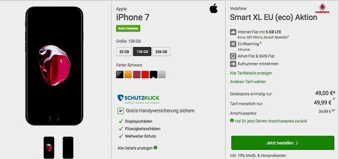 Apple iPhone 7 128GB mit Vertrag zum Smartphone Tarif Vodafone Smart XL EU (eco) Aktion im D2 Vodafone Netz und erhalte dafür eine LTE Internet-Flatrate 5 GB mit bis zu 500 MBit/s , Allnet-Gesprächsflat in alle Netze inklusive EU-Roaming , SMS-Flat in alle dt. Netze der Vertrag wird im Netz von Vodafone bereitgestellt.   #Apple #iPhone7 #iOSSmartphone