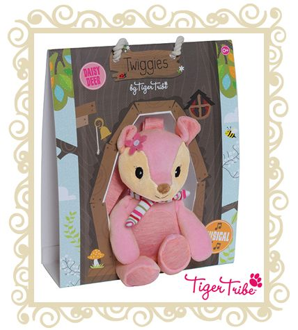 Tiger Tribe Twiggies Daisy Deer Musical  The perfect gift for newborns, our lovely woodland Twiggies are designed to comfort. Send your little one to sleep with the sweet song of Daisy Deer. Musical toys come with handy velcro straps to attach easily and safely to prams, cots or car-seats. Suitable for ages 0+  $29.95