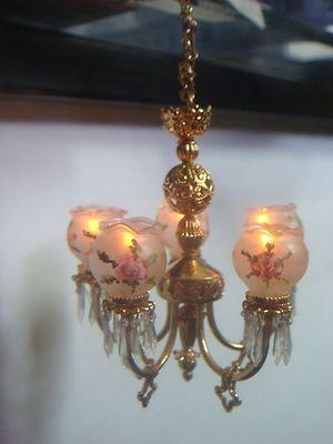 Dollhouse Miniature 5 Arm Electrical Chandelier Artisan Made