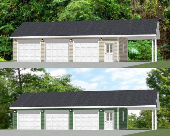 40x24 3 car garages with carports pdf floor plans for Three car detached garage plans