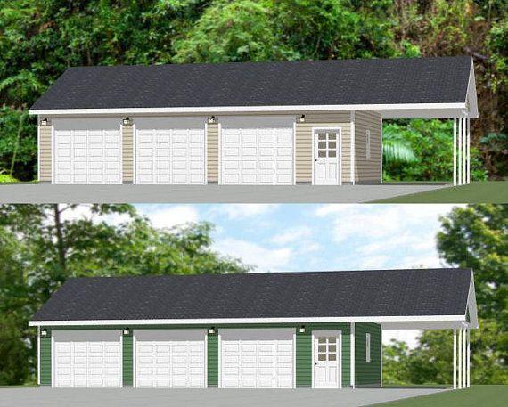 40x24 3 car garages with carports pdf floor plans for Carport flooring ideas