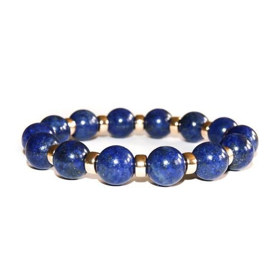 Mens Lapis Lazuli /& Gold Bracelet-Mens Stone Bead Bracelet with 9ct Gold Bead