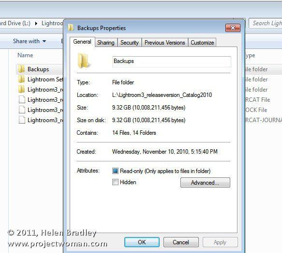 How to delete lightroom backups