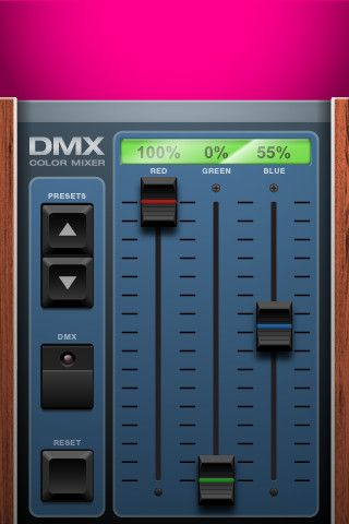 DMX Color Mixer This iPhone app is a reference for setting color values in a DMX setup. Move one of the three faders to see how it affects the color on top. Scroll through presents to see what values are used for common colors. - See more at: http://www.loungelizard.com/mobile-app-development/#sthash.braxvVuF.dpuf