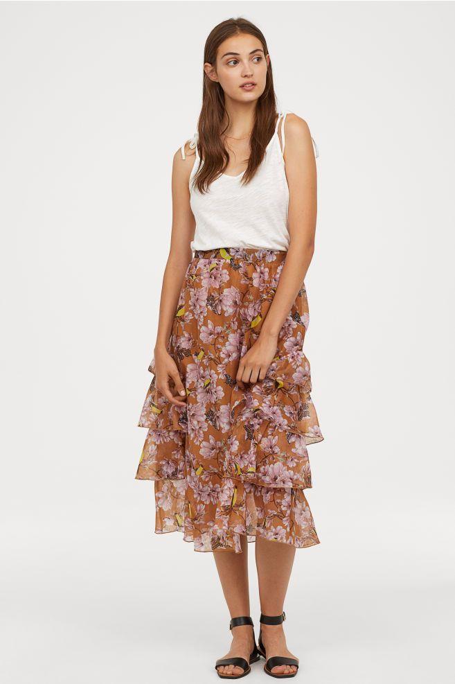 b3215d8f7c Patterned Flounced Skirt | Get into my closet | Skirts, Denim pencil ...