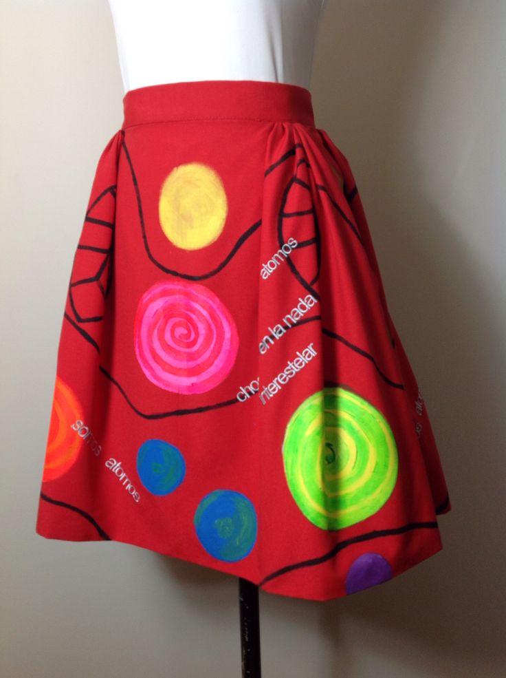 Faldas pintadas a Mano por Aurora Salguero y bordadas en hilo de seda . poemas de Esti Rubi