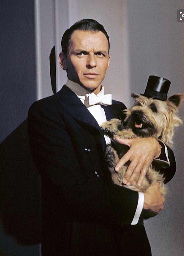 Frank Sinatra and his dog. Love this color photo of him.