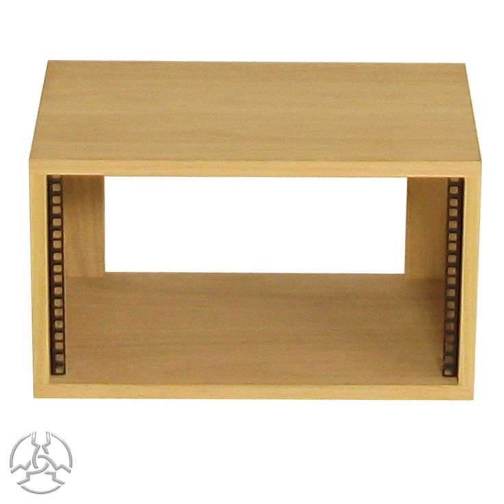 SMP6VOak 19 inch 6U Rack Pod- £84.00 - Inc vat.   Description: Supplied assembled with front rack strip fitted. Manufactured from 19mm Real Wood Oak Veneered MDF with 2mm edge-banding on the front (not on back) and a wax finish. All rack units are supplied with 4 nuts, bolts and washers.