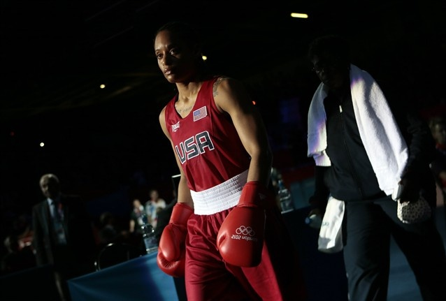 Quanitta Underwood of the United States, arrives for her fight against Natasha Jonas of Great Britain, during the women's lightweight boxing competition at the 2012 Summer Olympics.