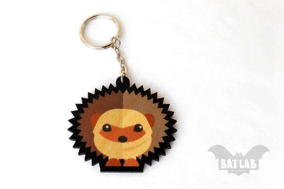 Animal Keychain from wood Hedgehog keychain Animal by BatLab