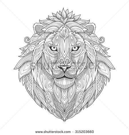 Lion ornament ethnic vector illustration, tribal, tattoo, animal, art, stencil, abstract, design