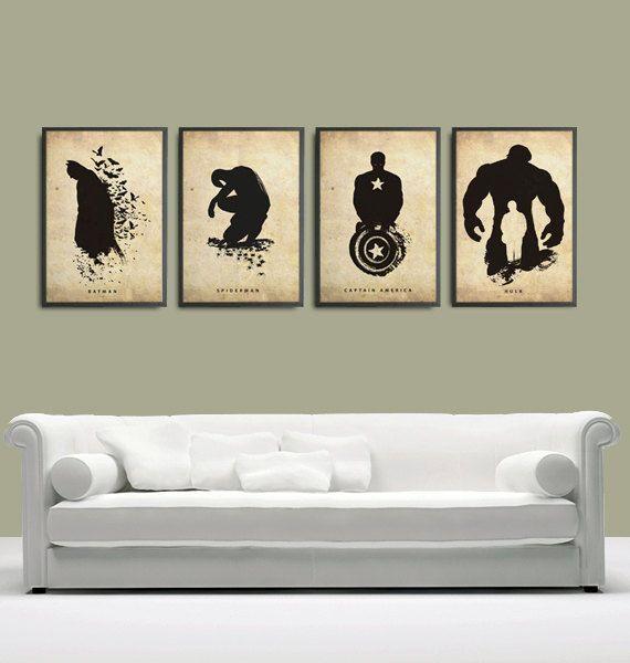 Spiderman, Batman, Incredible Hulk and Captain America Superheroes Poster Set 11x17. $50.00, via Etsy.