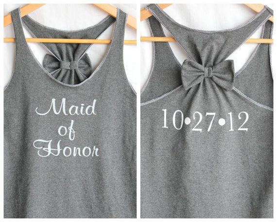 Maid of Honor Bow Tank top with Wedding Date by personTen on Etsy, $35.00