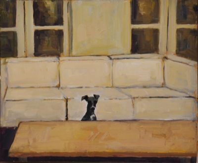 Rodgerson,Jenny Coffee table whippet Oil on Board - oil on panel Image Size: 25.5 x 30cm