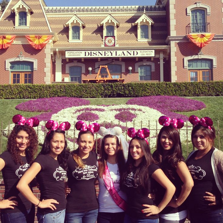 "Disney Bachelorette Party  Bride's: t-Shirt says ""Found my Prince Charming"" w/ a ring & Bridal Disney Minnie Ears Girl's: t-shirt says ""Move over Cinderella, here comes the Bride"" & pink Minnie Ears"