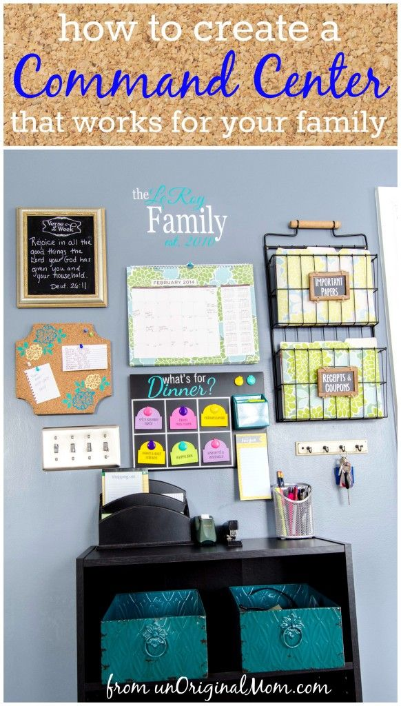 Step by step guide to create a command center that is organized, functional, and pretty, too! | unOriginalMom.com | #menuboard #corkboard #filefolders #diycommandcenter