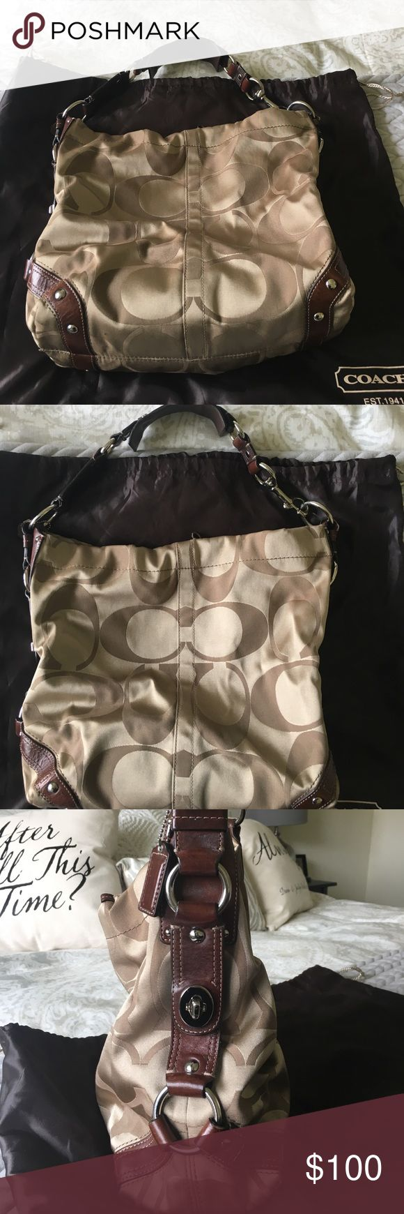 Tan coach satchel purse Tan coach satchel bag with brown leather straps and metal hardware. One small mark on the bottom of the bag shown in the pictures. Coach Bags Shoulder Bags