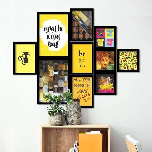 Sala De Estar Com Quadros Modernos ~  yellow wall quadros modernos parede cor amarela sala de estar molduras