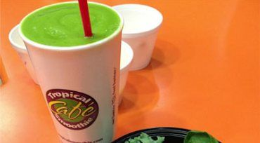 ORIGINAL RECIPES FROM TROPICAL SMOOTHIES IN WS - Sunrise Sunset Smoothie, Island Green Smoothie (220 calories), Muscle Blaster Smoothie, Smoothie boosters, Peanut Paradise Smoothie, 2 Low-cal two chicken taco wraps, (380 calories)