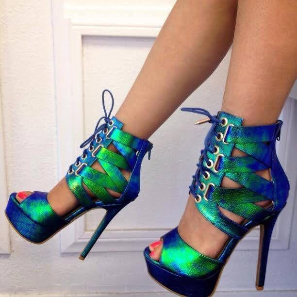 Green And Blue Heels - Red Heels Vip