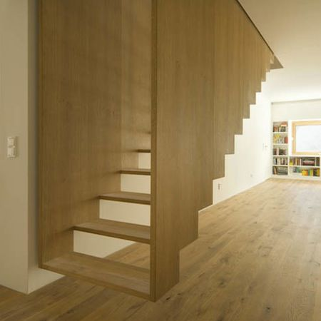 stair porn..... This self contained timber staircase appears to float in the room. Via Muuuz, by soho architektur
