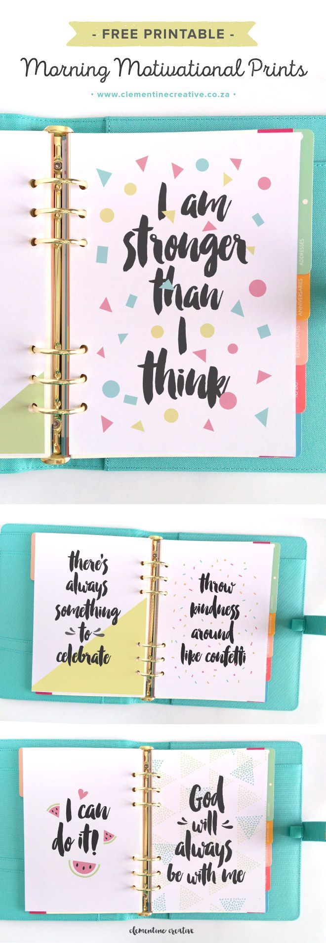 Morning Motivational Prints {Free Printable} - Clementine Creative | DIY Printable Stationery Más