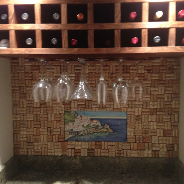 wine cork backsplash nailed a piece of plywood to the