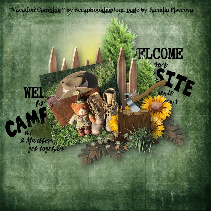 """""""Vacation Camping"""" by Scrapbookingdom, https://www.etsy.com/au/listing/541838685/vacation-camping-digital-scrapbook-kit?ref=shop_home_active_1, photo Pixabay"""