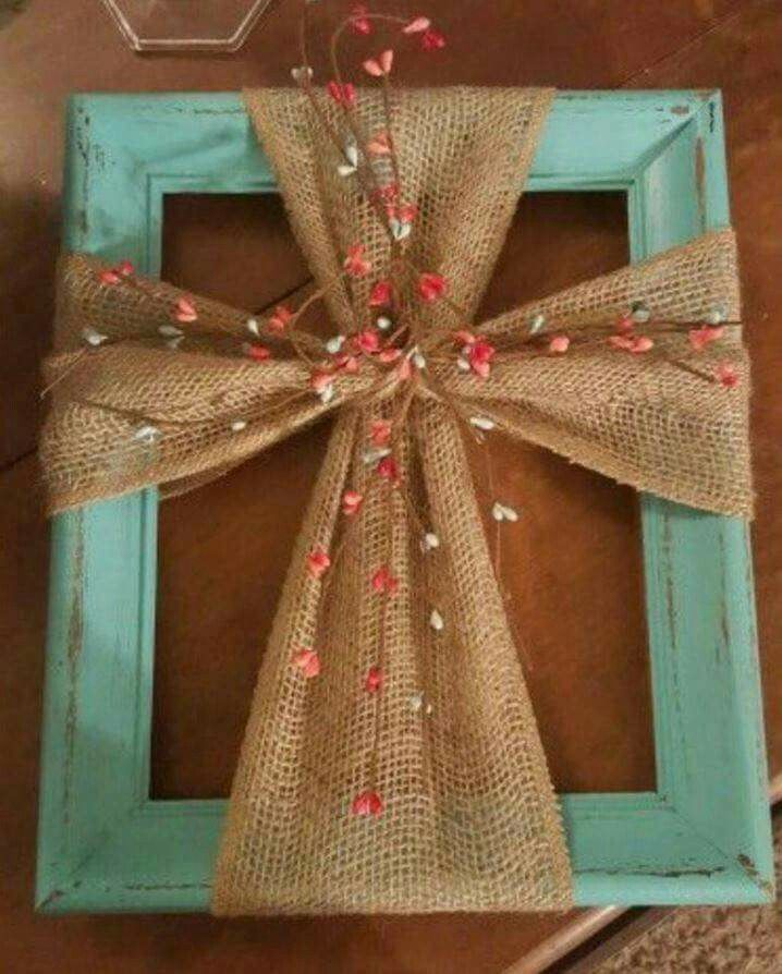 Make this cross wall art with a frame + burlap.  via Kitchen Fun With  My 3 Sons