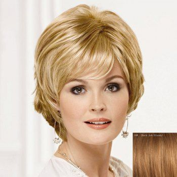 Fluffy Ladylike Fluffy Side Bang Short Human Hair Wig For Women