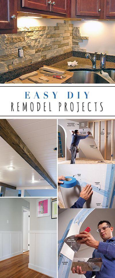 Easy DIY Remodel Projects • Ideas & Tutorials for projects like backsplash, drywall, floors, faux wood beam, sliding barn door etc....
