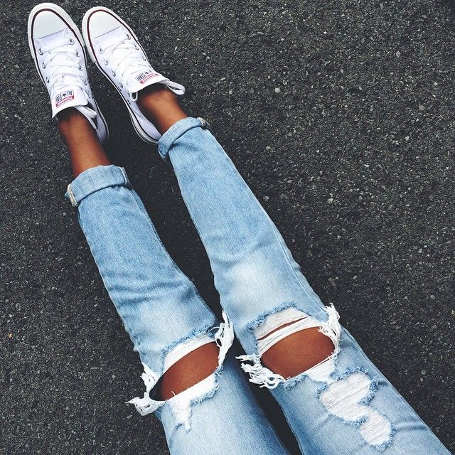 ripped jeans + chuck taylors #converse