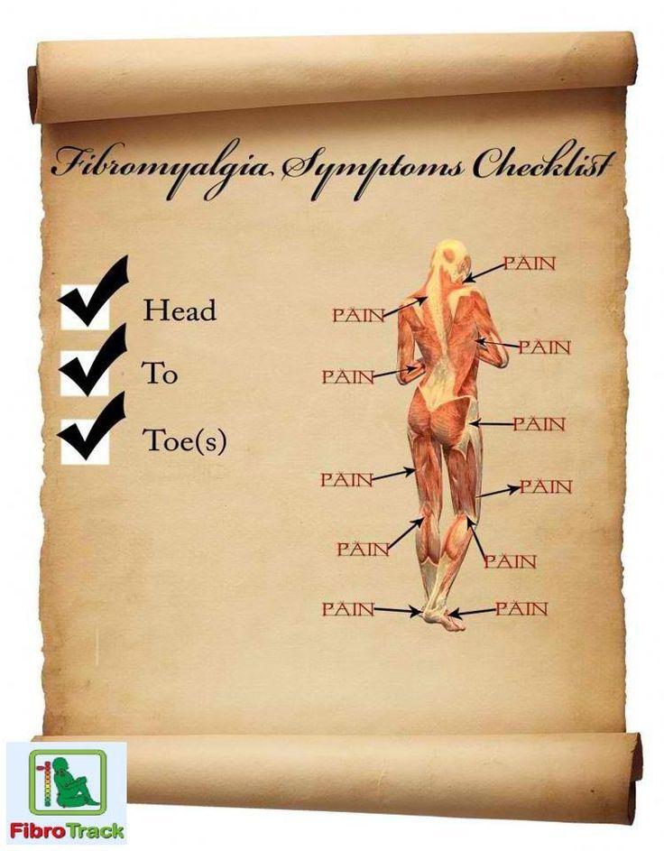 Fibromyalgia symptoms checklist! http://www.fibromyalgia-treatment.com/fibromyalgia-symptoms/