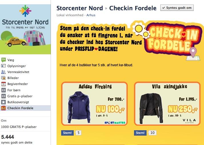 Facebook checkin fordele hos Storcenter Nord