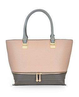 Pink Colour Block Zip Structured Tote Bag  | New Look