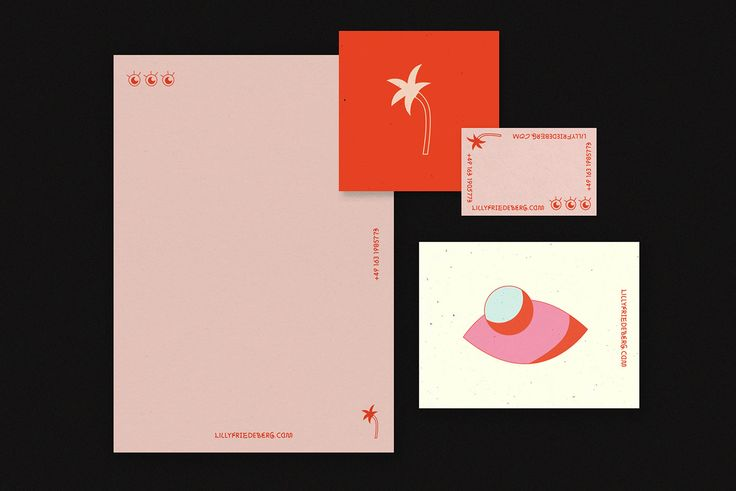 Lilly Friedeberg works as a designer and art director based in Düsseldorf, Germany combining graphic design, illustration and styling to create unique mostly colorful visuals. Her personal identity consists of a letterpress card printed on pink business card and stationary. It is a combination of beautiful materials, well balanced graphic design and illustration.
