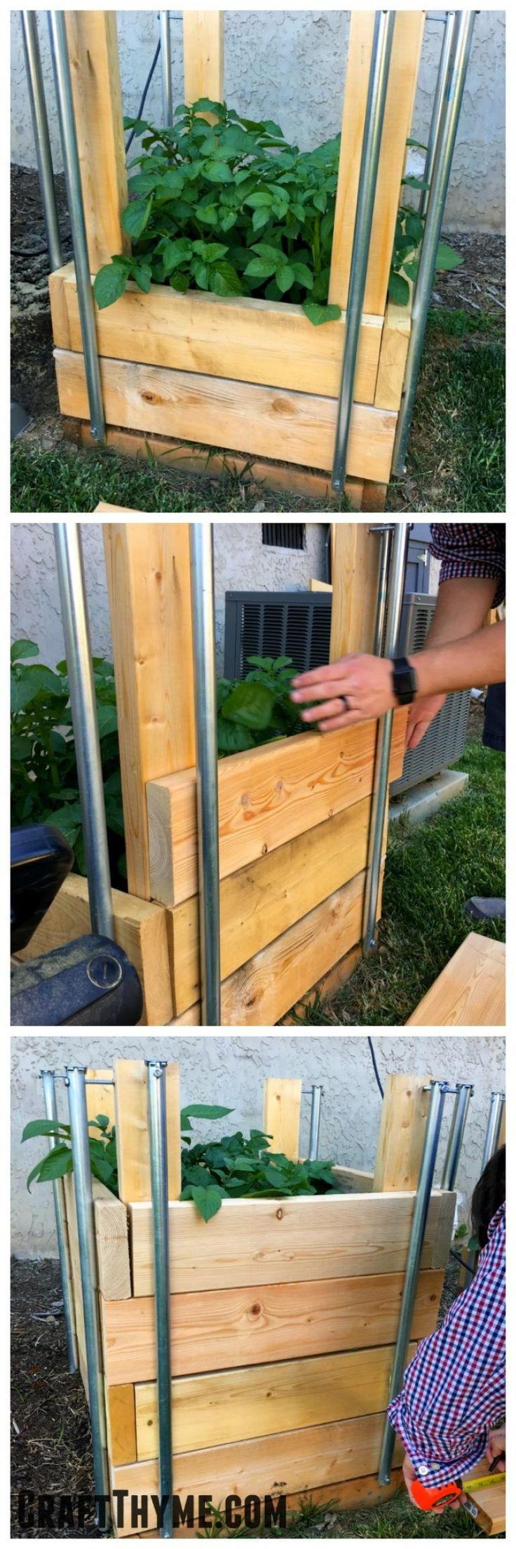 Short on garden space? Then a potato tower or potato box may be just what you need and we can show you just how to build a grow tower.   These potato boxes feature slide in and out slats for easy to harvest potatoes!