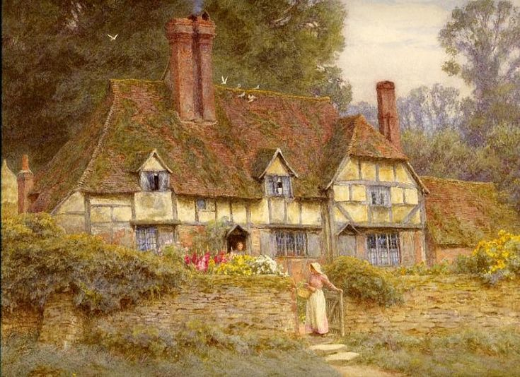 Watercolour Artist In Victorian Times Most Famous For Her Warm And Sympathetic Scenes Of Cottages Gardens Children Rural English Country Life