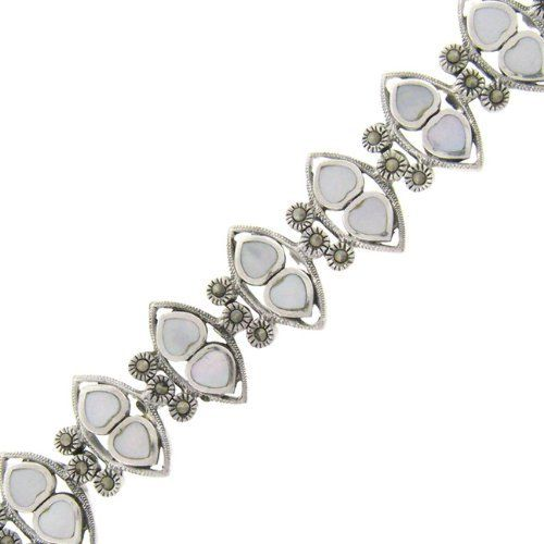 Sterling Silver Marcasite Mother of Pearl Two Row Twin Hearts Bracelet LEAH HANNA. $49.99